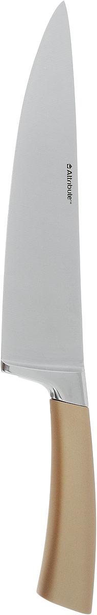 Нож поварской Attribute Knife Tango, цвет: золотой, стальной, длина лезвия 19,5 смAKT720Нож поварской Attribute Knife Tango изготовлен из первоклассной нержавеющей стали и предназначендля нарезки овощей, фруктов, рыбы и мяса без костей. Лезвиесделано из высококачественной хромо-молибденово-ванадиевой стали из Германии. Технология холодной закалки обеспечивает долгую заточку и повышенную устойчивость к коррозии. Такой нож станет прекрасным дополнением к коллекции ваших кухонных аксессуаров и не займет много места при хранении. Общая длина ножа: 33 см.