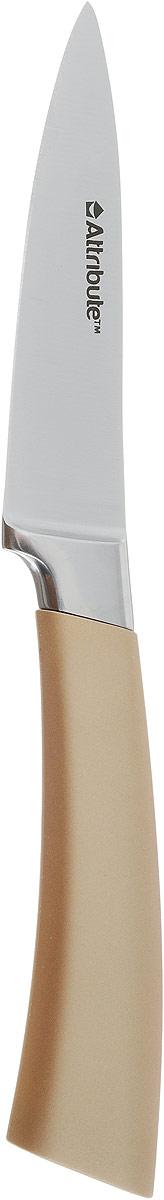 Нож для чистки овощей и фруктов Attribute Knife Tango, цвет: золотой, стальной, длина лезвия 9 смAKT209Нож Attribute Knife Tango изготовлен из первоклассной нержавеющей стали и предназначен для чистки овощей и фруктов. Лезвиесделано из высококачественной хромо-молибденово-ванадиевой стали из Германии. Технология холодной закалки обеспечивает долгую заточку и повышенную устойчивость к коррозии. Такой нож станет прекрасным дополнением к коллекции ваших кухонных аксессуаров и не займет много места при хранении. Общая длина ножа: 19,5 см.