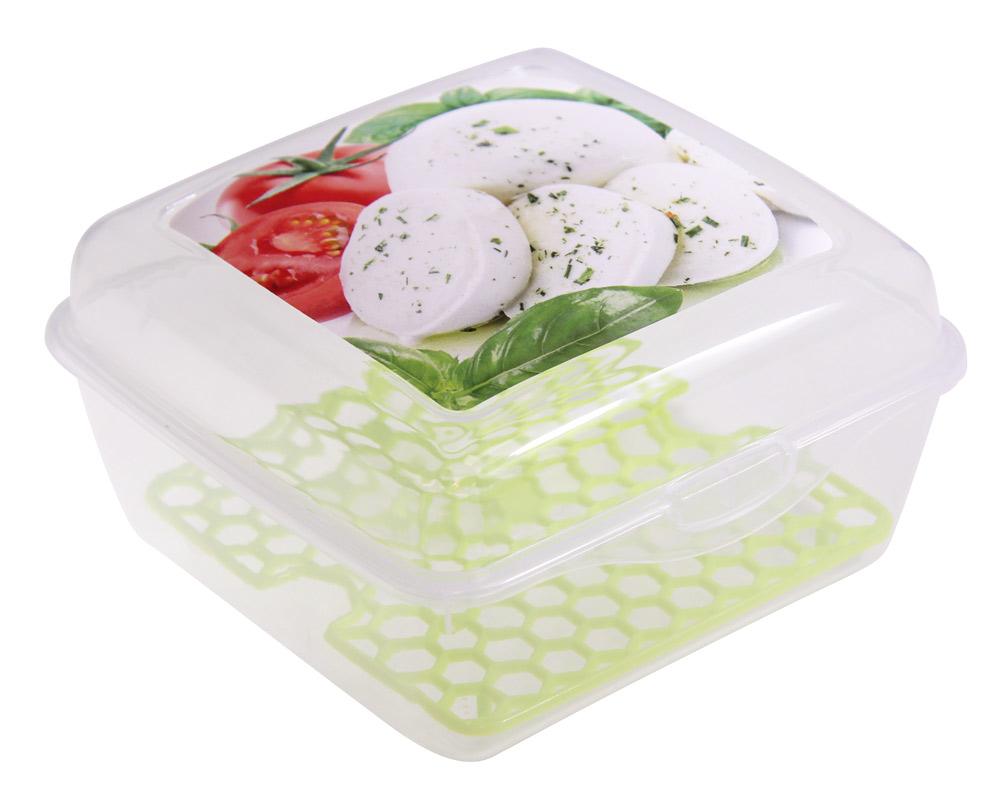 Емкость для продуктов Idea Моцарелла, со вставкой, цвет: прозрачный, 14 х 14 х 8 смМ 1459Емкость для продуктов Idea со вставкой изготовлена из пищевого полипропилена. Крышка плотно закрывается, дольше сохраняя продукты свежими. Боковые стенки прозрачные, что позволяет видеть содержимое. Емкость идеально подходит для хранения пищи, фруктов, ягод, овощей. Такая емкость пригодится в любом хозяйстве.