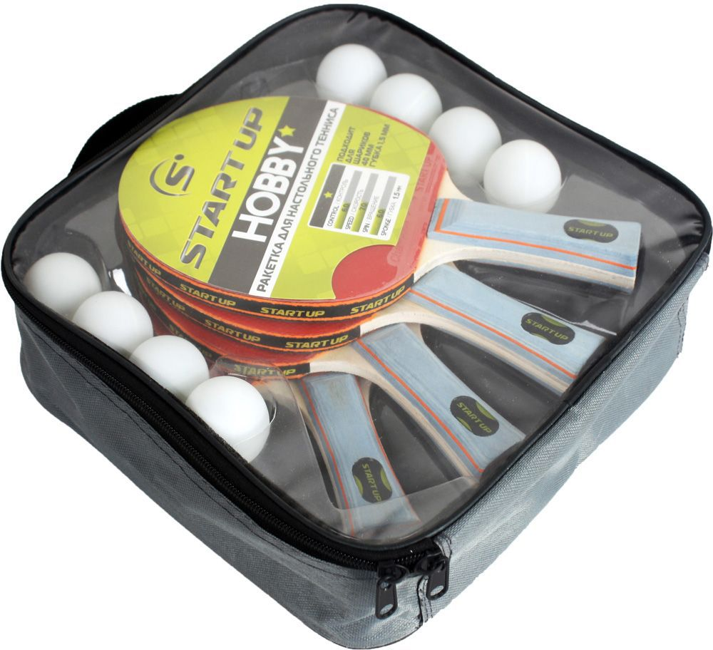 Набор для настольного тенниса Start Up: 4 ракетки, 8 шариков. BB02/1 star (8008) ракетка для настольного тенниса start line level 100 60 213