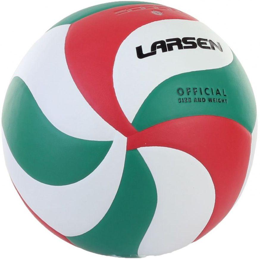 Мяч волейбольный Larsen, цвет: белый, красный, зеленый. Размер 5324214Волейбольный мяч Larsen выполнен из полиуретана и имеет камеру и ниппель из резины. Клееный волейбольный мяч предназначен для тренировок начинающих игроков, школьных тренировок и для игры в зале.Окружность: 68-69 смВес: 250-280 г