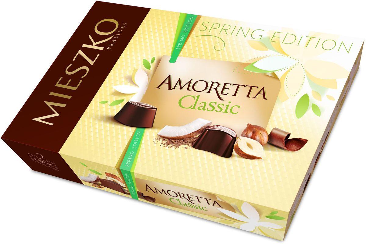 Mieszko Аморетта набор шоколадных конфет, 325 г5900353643792Шоколадные конфеты Аморетта классик - это ассорти изысканных шоколадных конфет из качественного шоколада с различными благородными начинками. Интенсивные начинки в каждой шоколадной конфете Аморетта классик непременно придутся по вкусу настоящим ценителям качественного шоколада. Каждая конфета Аморетта классик - само наслаждение! Благородная упаковка делает эти конфеты не только прекрасным лакомством, но и отличным подарком для своих близких.