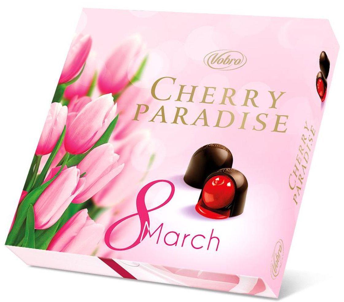 Vobro Cherry Paradise набор шоколадных конфет вишня в ликере, 105 г vobro frutti di mare набор шоколадных конфет в виде морских ракушек 175 г
