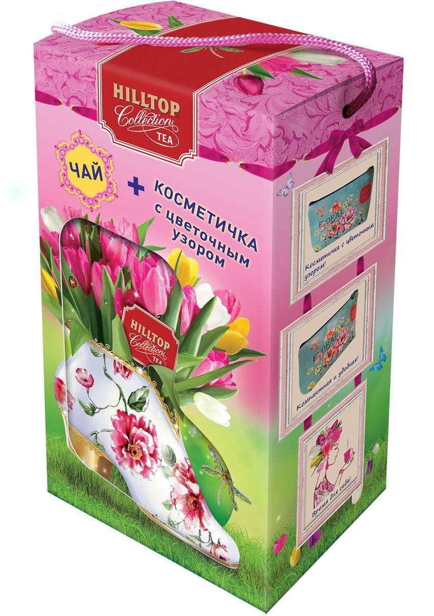 Hilltop Набор Яркие тюльпаны черный листовой чай Подарок Цейлона, 80 г + косметичка чай hilltop чай hilltop подарок цейлона 100г муз колокольчик музыка любви