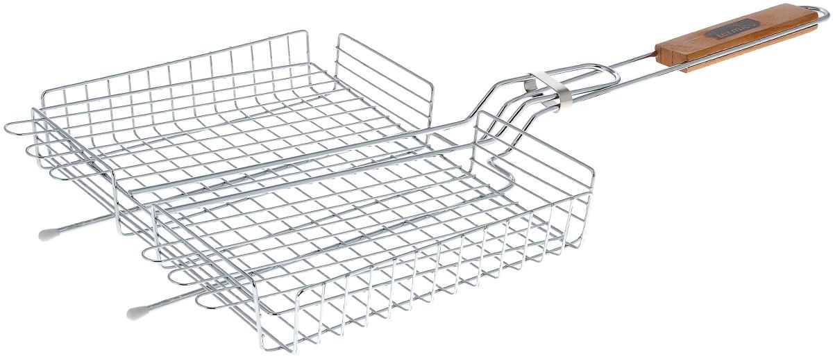 Решетка-гриль Termico, 31 х 24 х 5 см120100Решетка-гриль Termico предназначена для приготовления мяса, шашлыков, окороков, колбасок, сосисок, рыбы, овощей и прочих продуктов на открытой шашлычнице, в камине, на костре. Решетка изготовлена из высококачественной стали с хромированным покрытием, что облегчает процесс мытья решетки. Деревянная ручка облегчает эксплуатацию изделия и исключает возможность получения ожога. В производстве используются только экологически чистые материалы. Приготовления продуктов с помощью решетки не требует использования жиров и масел, поэтому в продуктах сохраняются все полезные компоненты и не образуются вредные для организма вещества.Размер решетки: 31 х 24 х 5 см.Общая длина решетки (с ручкой): 70 см.