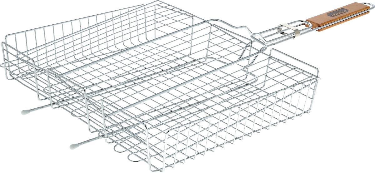 Решетка-гриль Termico, 41 х 31 х 7 см120101Решетка-гриль Termico предназначена для приготовления мяса, шашлыков, окороков, колбасок, сосисок, рыбы, овощей и прочих продуктов на открытой шашлычнице, в камине, на костре. Решетка изготовлена из высококачественной стали с хромированным покрытием, что облегчает процесс мытья решетки. Деревянная ручка облегчает эксплуатацию изделия и исключает возможность получения ожога. В производстве используются только экологически чистые материалы. Приготовления продуктов с помощью решетки не требует использования жиров и масел, поэтому в продуктах сохраняются все полезные компоненты и не образуются вредные для организма вещества.Размер решетки: 41 х 31 х 7 см.Общая длина решетки (с ручкой): 72 см.
