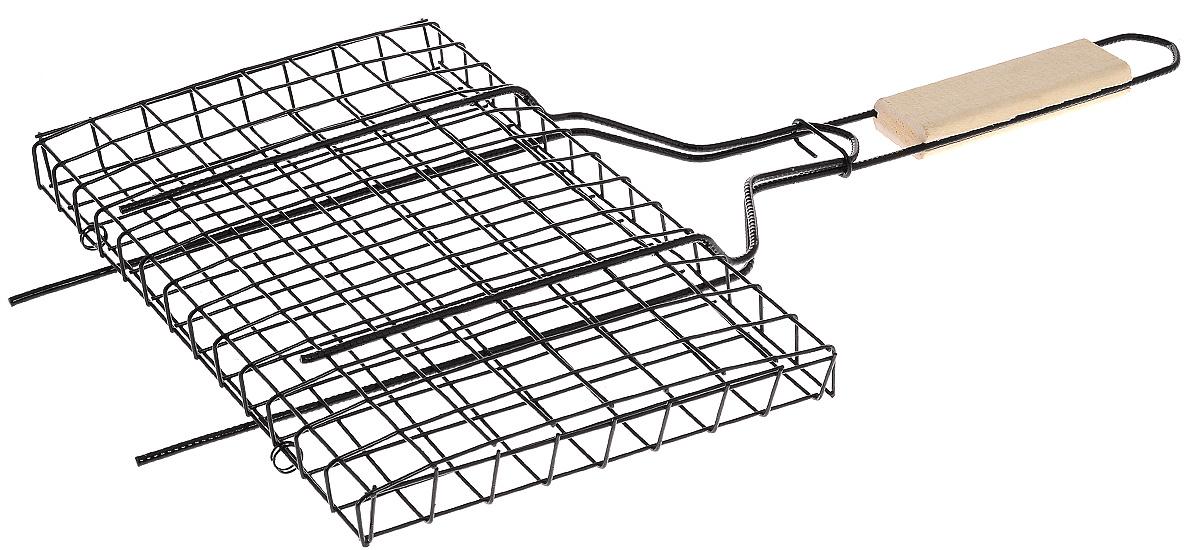 Решетка-гриль Masterline, универсальная, 31 х 21 х 1,8 см101312Решетка-гриль Masterline предназначена для приготовления мяса, шашлыков, окороков, колбасок, сосисок, рыбы, овощей и прочих продуктов на открытой шашлычнице, в камине, на костре. Решетка изготовлена из высококачественной стали с хромированным покрытием, что облегчает процесс мытья решетки. Деревянная ручка облегчает эксплуатацию изделия и исключает возможность получения ожога. В производстве используются только экологически чистые материалы. Приготовления продуктов с помощью решетки не требует использования жиров и масел, поэтому в продуктах сохраняются все полезные компоненты и не образуются вредные для организма вещества.Размер решетки: 31 х 21 х 1,8 см.Общая длина решетки (с ручкой): 59 см.