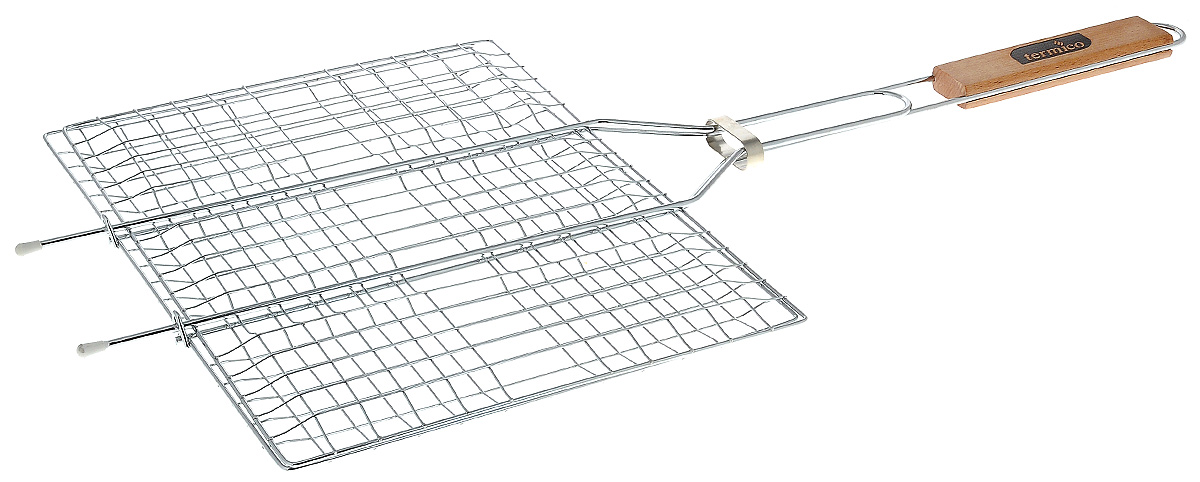 Решетка-гриль Termico, 35 х 25 х 1,5 см120102Решетка-гриль Termico предназначена для приготовления мяса, шашлыков, окороков, колбасок, сосисок, рыбы, овощей и прочих продуктов на открытой шашлычнице, в камине, на костре. Решетка изготовлена из высококачественной стали с хромированным покрытием, что облегчает процесс мытья решетки. Деревянная ручка облегчает эксплуатацию изделия и исключает возможность получения ожога. В производстве используются только экологически чистые материалы. Приготовления продуктов с помощью решетки не требует использования жиров и масел, поэтому в продуктах сохраняются все полезные компоненты и не образуются вредные для организма вещества.Размер решетки: 35 х 25 х 1,5 см.Общая длина решетки (с ручкой): 60 см.