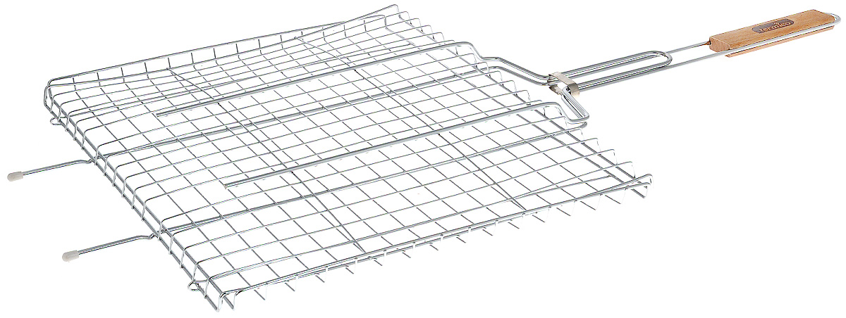 """Решетка-гриль """"Termico"""" предназначена для приготовления мяса, шашлыков, окороков, колбасок, сосисок, рыбы, овощей и прочих продуктов на открытой шашлычнице, в камине, на костре. Решетка изготовлена из высококачественной стали с хромированным покрытием, что облегчает процесс мытья решетки. Деревянная ручка облегчает эксплуатацию изделия и исключает возможность получения ожога. В производстве используются только экологически чистые материалы. Приготовления продуктов с помощью решетки не требует использования жиров и масел, поэтому в продуктах сохраняются все полезные компоненты и не образуются вредные для организма вещества.Размер решетки: 46 x 38 x 2 см.Общая длина решетки (с ручкой): 85 см."""