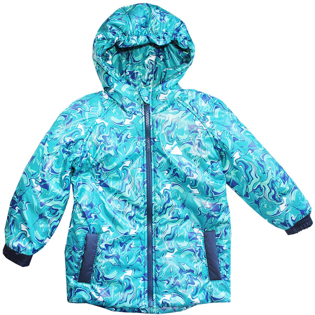 Куртка для мальчика КотМарКот, цвет: бирюзовый, синий, аквамариновый. 25002. Размер 92/98, 2-3 года25002Куртка для мальчика КотМарКот c длинными рукавами и несъемным капюшоном выполнена из прочного полиэстера. Наполнитель - синтепон. Подкладка изготовлена из натурального хлопка. Модель застегивается на застежку-молнию спереди. Изделие имеет два втачных кармана спереди. Рукава оснащены эластичными манжетами. Куртка оформлена оригинальным абстрактным принтом и дополнена светоотражающими элементами спереди и на спинке.