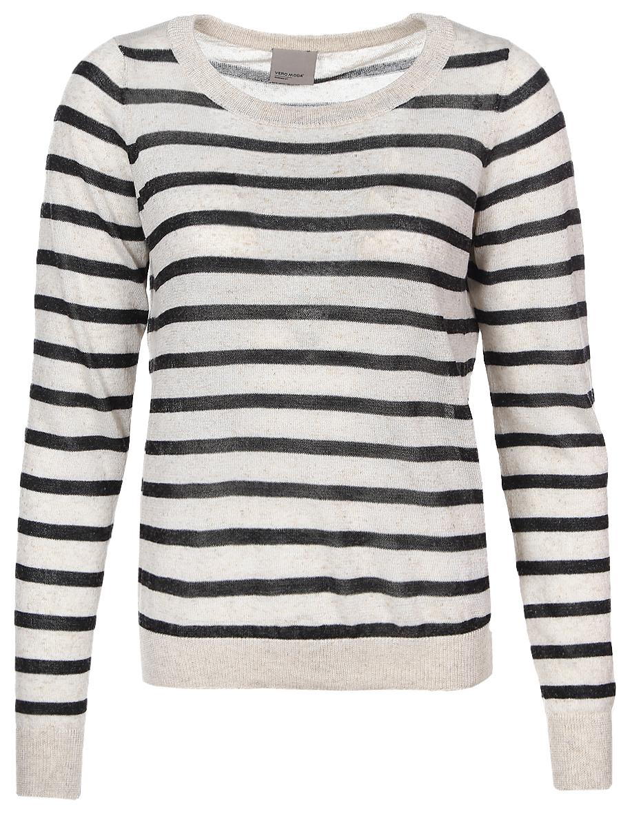 Джемпер женский Vero Moda, цвет: черный, бежевый. 10166456. Размер L (46) пуловер женский vero moda soon цвет серый 10162346 размер l 46