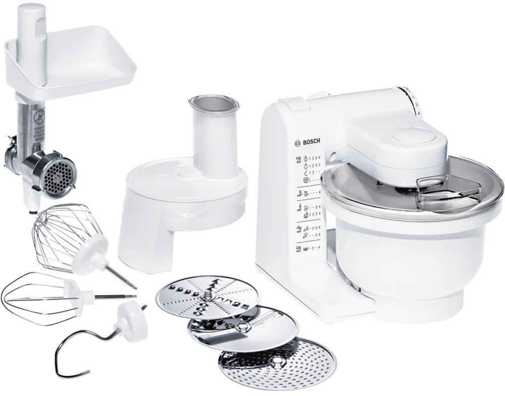 Bosch MUM 4406 кухонный комбайнMUM 4406Универсальный кухонный комбайн Bosch MUM 4406 прост в эксплуатации и оснащен всеми основными функциями для приготовления различных блюд.MultiMotion Drive: идеальное смешивание ингредиентов благодаря планетарному принципу вращения насадок.Широкий ассортимент насадок: венчик для замешивания жидкого теста, круглый венчик для взбивания крема и яичных белков, насадка для замешивания крутого теста, универсальная резка с тремя дисками для разных типов нарезки и мясорубка.Большая чаша: 3,9 л, возможность замешивания до 2 кг теста.Многофункциональный рычаг для крепления насадок в разных положениях с тремя валами привода.4-ступенчатая регулировка скорости вращения, функция парковки (остановка принадлежностей в заданном положении)Прост в использовании и безопасен. Аксессуары можно мыть в посудомоечной машине.