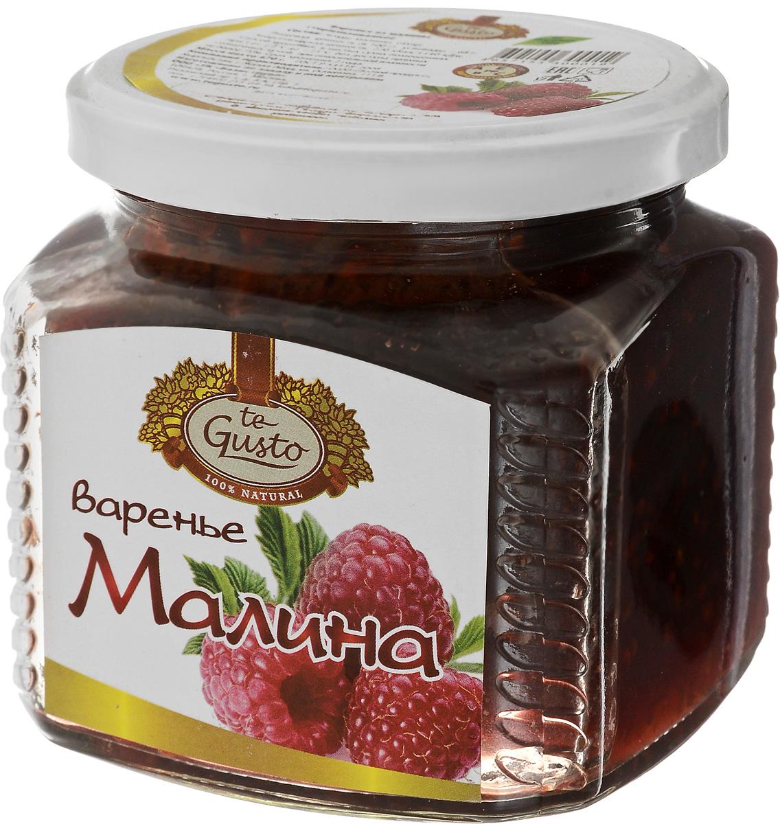 te Gusto Варенье из малины, 470 г4657155300019Вместо того чтобы бороться с простудами и инфекциями, принимая антибиотики, лучше заранее укрепить свой иммунитет, употребляя сочные ягоды малины.Помимо аскорбинки в малине достаточно много витамина А, который предохраняет от сердечно-сосудистых заболеваний, старения и рака, витамина РР, который поможет избавиться от усталости, бессонницы, улучшит аппетит и сделает кожу чистой и эластичной, витамина Е - главного компонента омолаживающих кремов для лица, и витамина В2, который способен победить прыщи, справиться с перхотью и сделать тусклые ломкие волосы густыми и блестящими. А поскольку все эти витамины являются антиоксидантами, поедание малины благоприятно отразится на вашей внешности.Главное богатство этой ягоды - салициловая кислота, которая способна справляться с бактериями и обладает жаропонижающим эффектом. Причем если другие ягоды при варке лишаются большей части полезных веществ, то малина в виде варенья справляется с простудой еще лучше, чем в свежем виде. Таким же действием обладают и сушеные ягоды малины. То есть и малиновое варенье, и сама малина запросто могут считаться полноценным заменителем таблетки аспирина.