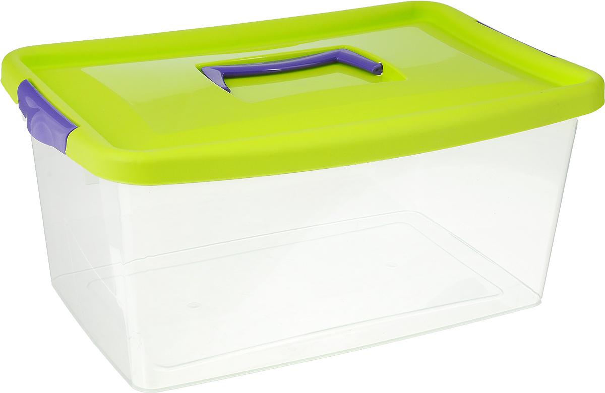 Контейнер для хранения Idea, цвет: прозрачный, салатовый, фиолетовый, 9 л