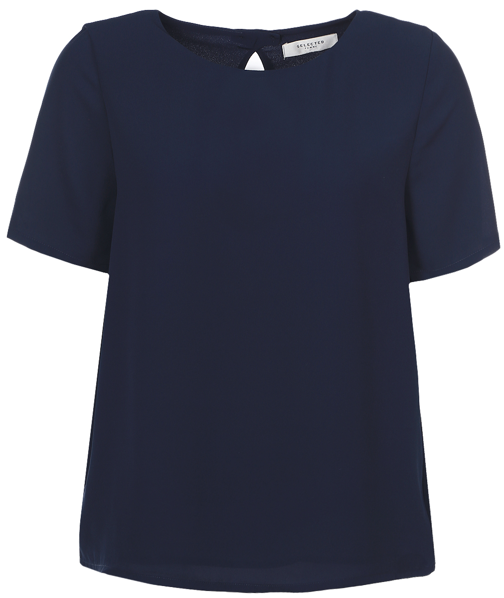 Блузка женская Selected Femme, цвет: темно-синий. 16054002. Размер 38 (44)