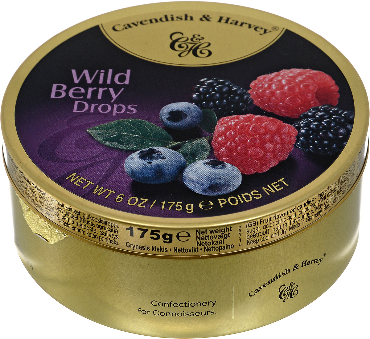 Cavendish & Harvey Лесные ягоды леденцы, 175 г6.3.30/1Вкуснейшие леденцы Cavendish & Harvey позволят вернуть яркое лето! Сочный микс из лесных ягод - это то, что нужно любителям изысканных десертов. Лесные ягоды - вкус самой природы.Эти конфеты очень удобно брать с собой в путешествие, возить в автомобиле и хранить на рабочем месте, поскольку жестяная банка надежно закрывается и не занимает много места.Уважаемые клиенты! Обращаем ваше внимание, что полный перечень состава продукта представлен на дополнительном изображении.