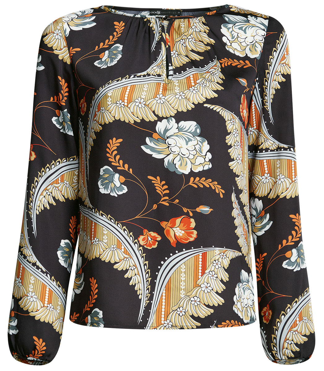 Блузка женская oodji Collection, цвет: черный, бежевый. 21400321-2/33116/2933F. Размер 40-170 (46-170)21400321-2/33116/2933FЖенская стильная блузка oodji исполнена из гладкой воздушной ткани. Оформлена рукавами-баллонами и круглым аккуратным воротником с вырезом-капелькой, декорированным пуговкой. Отлично подойдет для создания утонченного образа, как в повседневном стиле, так и в полуделовом.