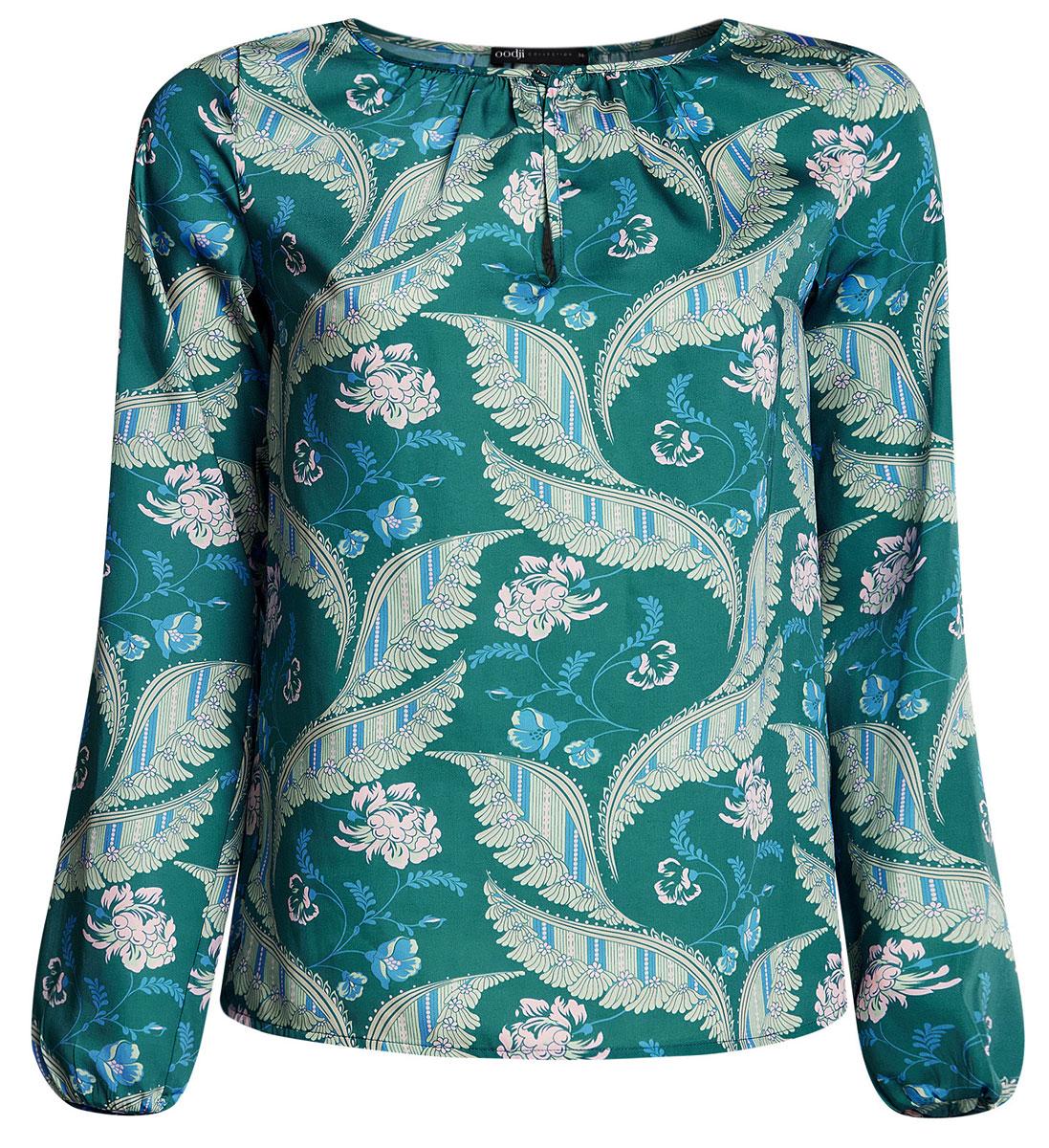 Блузка женская oodji Collection, цвет: изумрудный, бежевый. 21400321-2/33116/6D33F. Размер 40-170 (46-170)21400321-2/33116/6D33FЖенская стильная блузка oodji исполнена из гладкой воздушной ткани. Оформлена рукавами-баллонами и круглым аккуратным воротником с вырезом-капелькой, декорированным пуговкой. Отлично подойдет для создания утонченного образа, как в повседневном стиле, так и в полуделовом.
