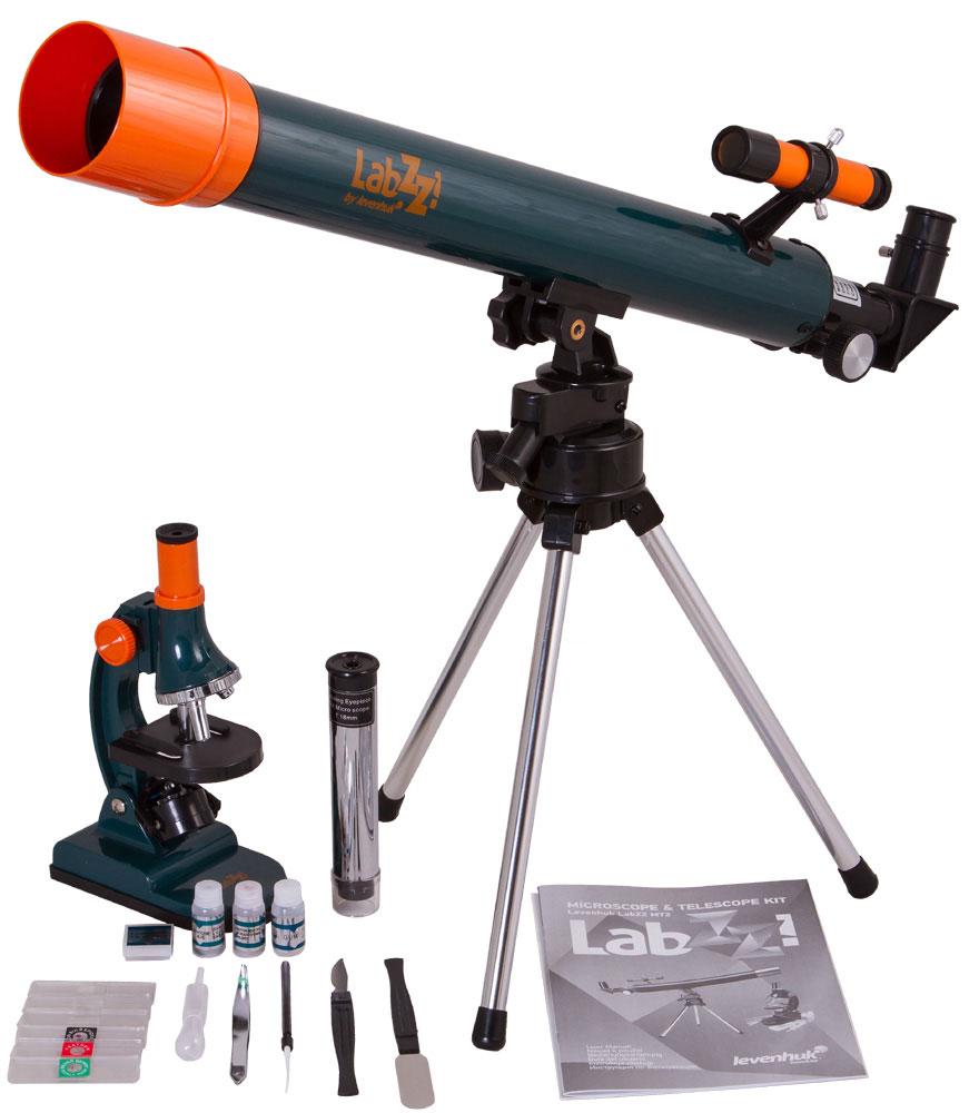 Levenhuk LabZZ MT2, Blue телескоп + микроскопTelescope + Microscope LabZZ set_зеленыйНабор Levenhuk LabZZ MT2 – идеальный подарок для любознательного ребенка! В набор входит небольшой удобный телескоп и простой в управлении микроскоп, с которыми познавать окружающий мир будет еще интереснее. Глядя в микроскоп, юный исследователь узнает, как устроены привычные окружающие предметы, а наблюдения в телескоп помогут ему прикоснуться к тайнам космоса. Набор прекрасно подходит для дошкольников и младших школьников.Компактный азимутальный телескопТелескоп отличается небольшими размерами и очень простым управлением – это идеальная модель для первых астрономических наблюдений. Диаметр объектива составляет 50 мм – в телескоп можно не только изучать небесные тела, но и следить за наземными объектами.Модель поставляется с двумя окулярами. Окуляр H12,5 мм (50x) нужен для наблюдения за астрономическими объектами – с ним наблюдают Луну, планеты и звезды. Чтобы рассмотреть далекие наземные объекты, используется окуляр 18 мм (35x). Этот окуляр оборачивающий – изображение в нем получается неперевернутым и не зеркальным. Кроме того, его можно использовать и отдельно от телескопа в качестве карманного микроскопа-трубки с увеличением 14 крат.Прибор устанавливается на азимутальную монтировку. Принцип работы монтировки очень простой – чтобы навестись на выбранный объект, нужно просто перемещать трубу по горизонтали и вертикали. Устойчивый настольный штатив позволяет вести наблюдения даже с подоконника.Простой и качественный биологический микроскопМикроскоп – это простой способ узнать больше о самых обычных на первый взгляд предметах. Эта модель подходит для изучения прозрачных объектов, например тонких срезов растений. Микроскоп поставляется с готовыми препаратами и специальными инструментами для работы с микроскопическими образцами. Микроскоп комплектуется тремя объективами и дает увеличения 75, 300 и 900 крат.В качестве подсветки используется зеркало. Если внешнего освещения недостаточно