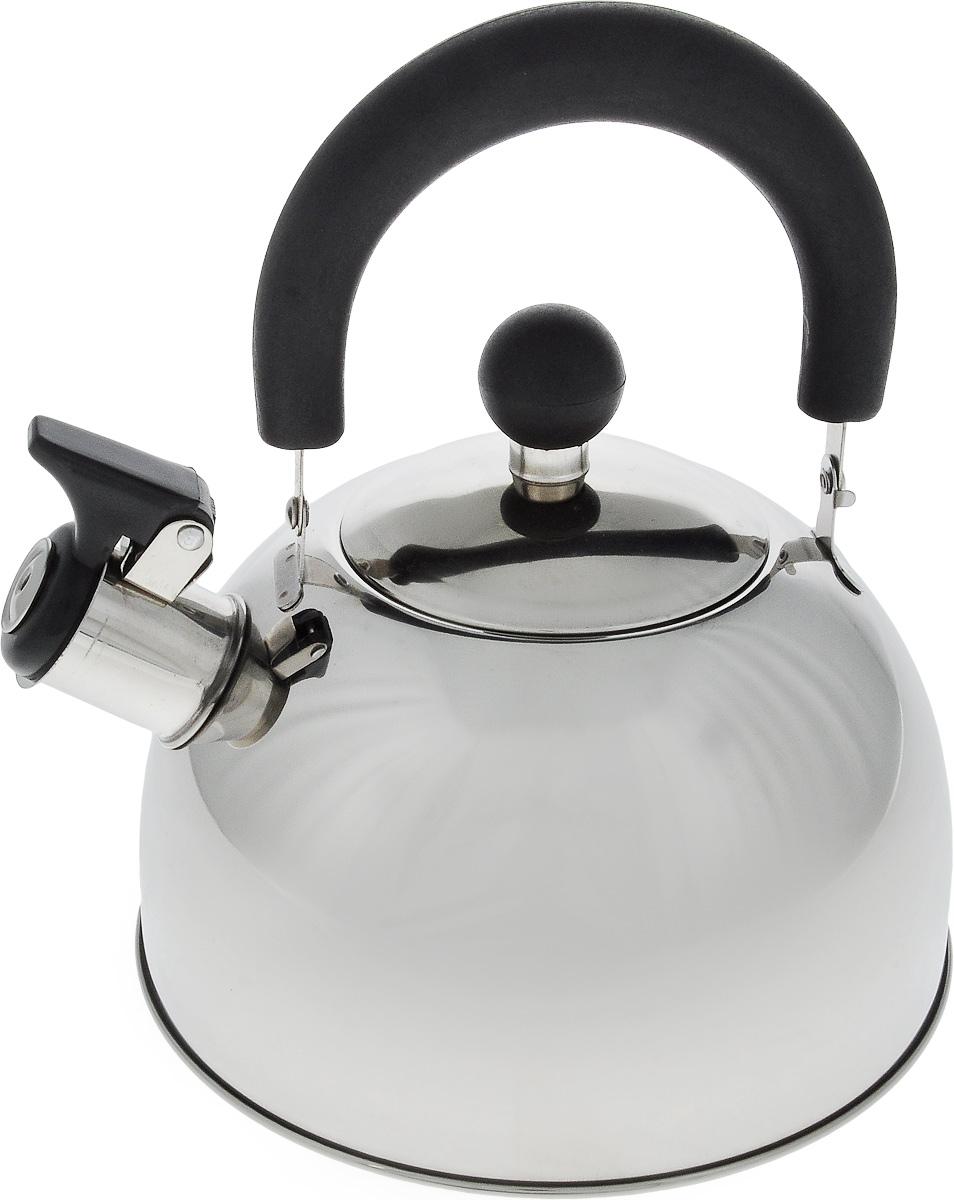 Чайник Termico, со свистком, цвет: серебристый, черный, 1,6 л220407Чайник Termico выполнен из высококачественной нержавеющей стали, что обеспечивает долговечность использования. Внешнее зеркальное покрытие придает изделию изысканный вид. Эргономичная пластиковая ручка делает использование чайника очень удобным и безопасным. Чайник снабжен откидным свистком, который подскажет, когда закипела вода.Не рекомендуется мыть в посудомоечной машине. Пригоден для всех видов плит, кроме индукционных.Высота чайника (без учета крышки и ручки): 10 см.Диаметр отверстия: 8,5 см.