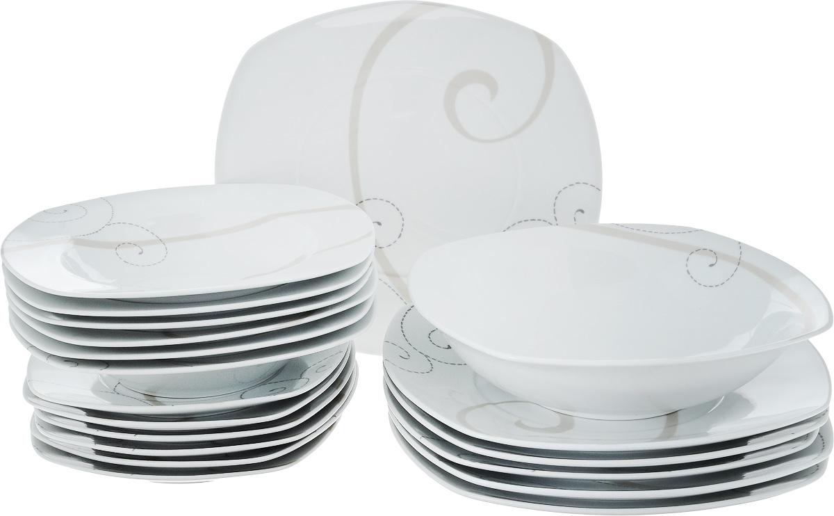 Набор столовой посуды Domenik Caress Modern, 19 предметовDM9112Набор Domenik Caress Modern, изготовленный из высококачественного фарфора, состоит из 6 суповых тарелок, 6 обеденных тарелок, 6 десертных тарелок и салатника. Изделия декорированы узором. Такой сервиз придется по вкусу любителям классики, и тем, кто предпочитает утонченность и изысканность. Набор эффектно украсит стол к обеду, а также прекрасно подойдет для торжественных случаев.Можно мыть в посудомоечной машине и использовать в микроволновой печи. Размер обеденной тарелки (по верхнему краю): 25 х 25 см. Высота обеденной тарелки: 2,4 см. Размер суповой тарелки (по верхнему краю): 21,5 х 21,5 см. Внутренний диаметр суповой тарелки: 15 см. Высота суповой тарелки: 4 см.Размер десертной тарелки (по верхнему краю): 18,5 х 18,5 см. Высота десертной тарелки: 1,8 см. Размер салатника (по верхнему краю): 23 х 23 см. Высота салатника: 6 см.