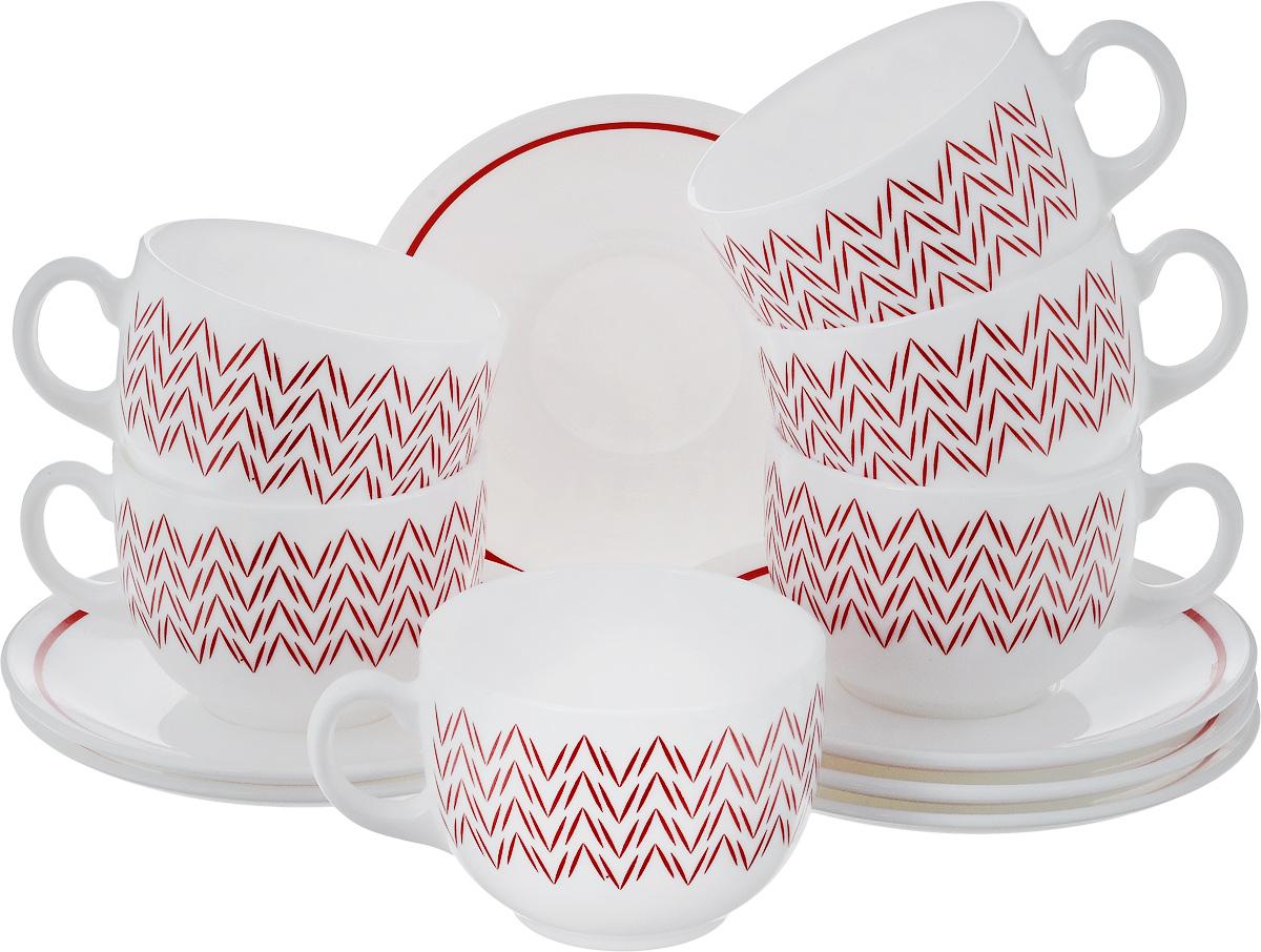 Набор чайный Luminarc Баттуто, цвет: белый, красный, 12 предметовJ7842Чайный набор Luminarc Баттуто состоит из шести чашек и шести блюдец, выполненных из стекла. Изделия оформлены ярким рисунком. Изящный набор эффектно украсит стол к чаепитию и порадует вас функциональностью и ярким дизайном. Можно мыть в посудомоечной машине.Диаметр чашки (по верхнему краю): 8 см.Высота чашки: 6 см.Объем чашки: 220 мл. Диаметр блюдца: 13,5 см.Высота блюдца: 1,5 см.