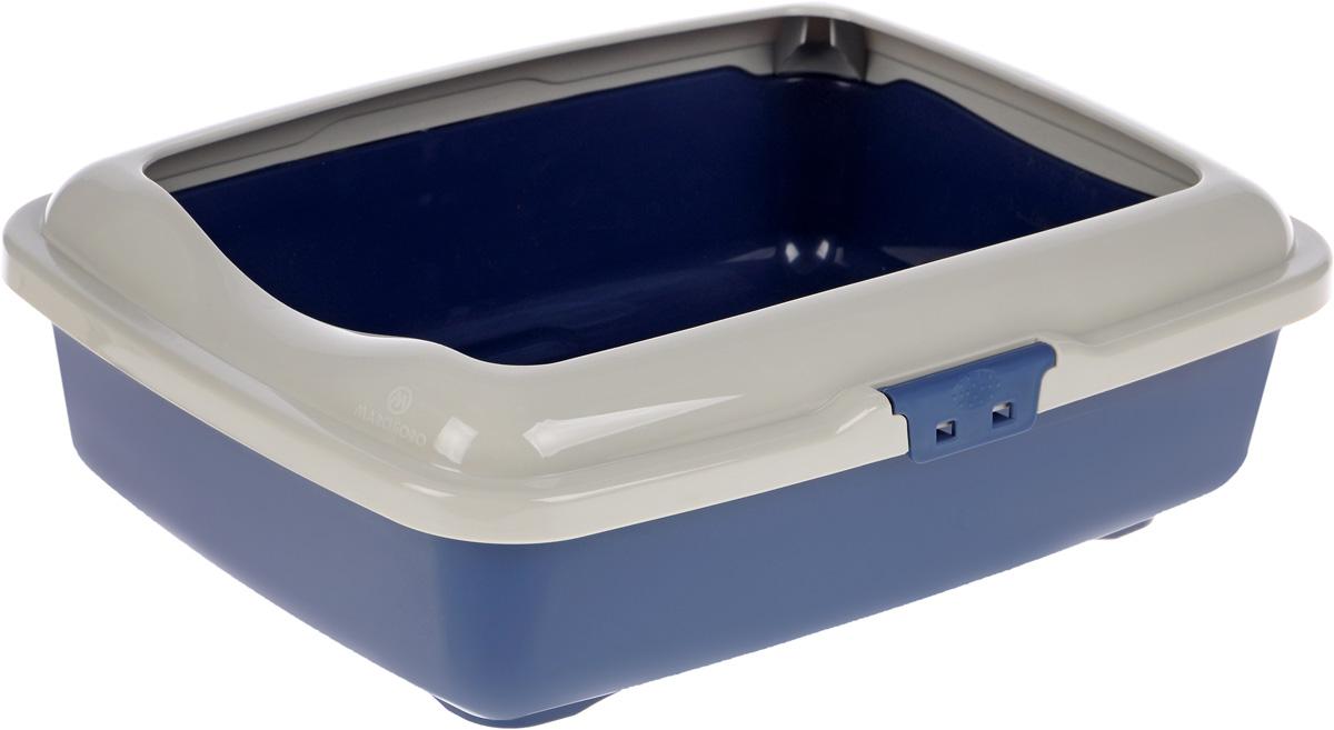 Туалет для кошек Marchioro  Goa , с бортом, цвет: бежевый, синий, 43 х 33 х 14 см - Наполнители и туалетные принадлежности