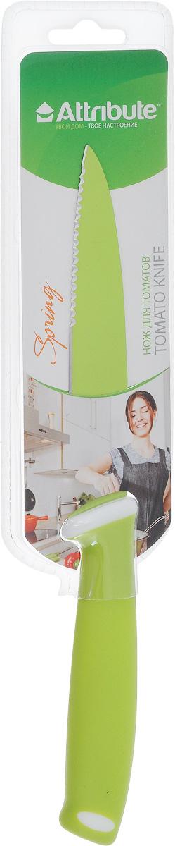 Нож для томатов Attribute Knife Spring Green, длина лезвия 12 смAKZ112Нож Attribute Knife Spring Green предназначен для деликатной нарезки фруктов и овощей, у которых твердая кожура и мягкая середина - помидоры, апельсины, лимоны. Лезвие выполнено из высококачественной нержавеющей стали. Эргономичная рукоятка, выполненная из резиновой смеси, не скользит в руках и делает нарезку удобной и безопасной. Благодаря уникальной формуле стали и качеству ее обработки, лезвие имеет высокий показатель твердости, что позволяет ему долго сохранять острую заточку.Нож Attribute Knife Spring Green займет достойное место среди аксессуаров на вашей кухне.Длина лезвия: 12 см.Общая длина ножа: 23,5 см.