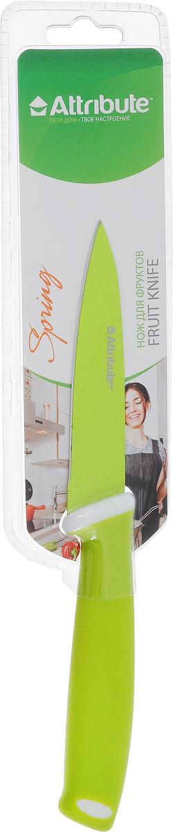 Нож для чистки овощей и фруктов Attribute Knife Spring Green, длина лезвия 9 смAKZ109Нож Attribute Knife Spring Green изготовлен из высококачественной нержавеющей стали. Такой нож отлично подходит для чистки овощей и фруктов. Эргономичная рукоятка ножа выполнена из резиновой смеси. Нож Attribute Knife Spring Green предоставит вам все необходимые возможности в успешном приготовлении пищи. Длина лезвия: 9 см.Общая длина ножа: 21 см.