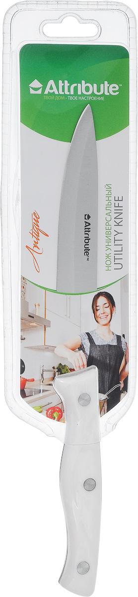 Нож универсальный Attribute Knife Antique, длина лезвия 12 смAKA113Универсальный нож Attribute Knife Antique предназначен для нарезки различных продуктов. Лезвие выполнено из высококачественной нержавеющей стали. Эргономичная рукоятка, выполненная из термостойкого пластика, не скользит в руках и делает нарезку удобной и безопасной. Благодаря уникальной формуле стали и качеству ее обработки, лезвие имеет высокий показатель твердости, что позволяет ему долго сохранять острую заточку.Нож Attribute Knife Antique идеально шинкует, нарезает и измельчает продукты. Он займет достойное место среди аксессуаров на вашей кухне. Можно мыть в посудомоечной машине.Длина лезвия: 12 см.Общая длина ножа: 23 см.
