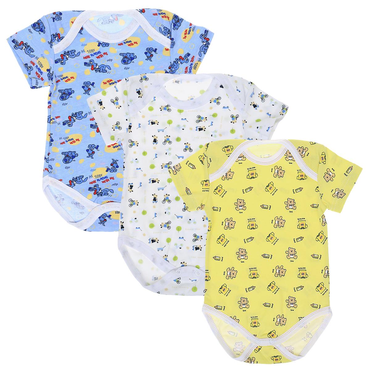 Боди для мальчика Фреш Стайл, цвет: белый, голубой, желтый, 3 шт. 33-315м. Размер 80 боди для мальчика spasilk цвет белый голубой зеленый 3 шт on a7p размер l 6 9 месяцев