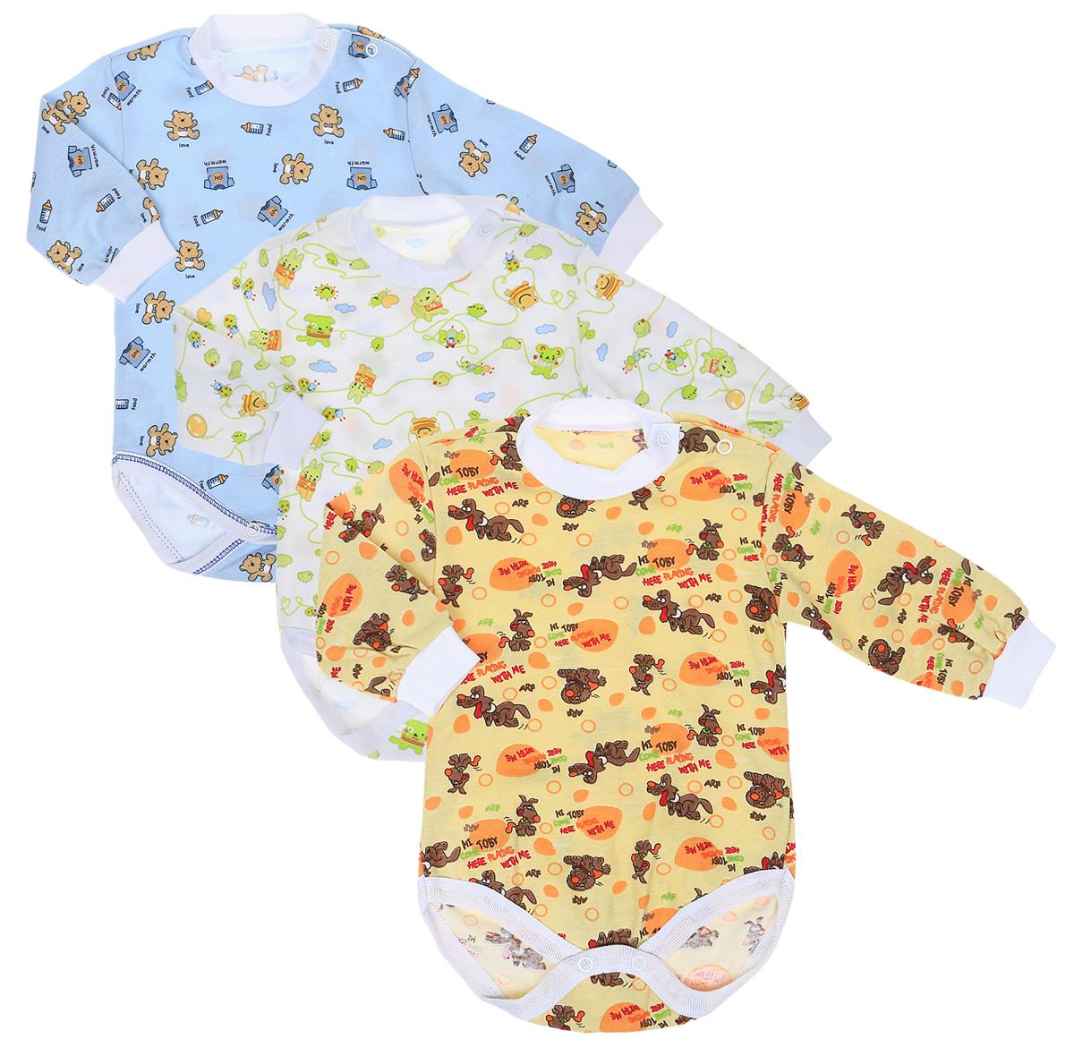 Боди для мальчика Фреш Стайл, цвет: голубой, белый, желтый, 3 шт. 33-308м. Размер 86 боди и песочники hudson baby боди собачка 3 шт
