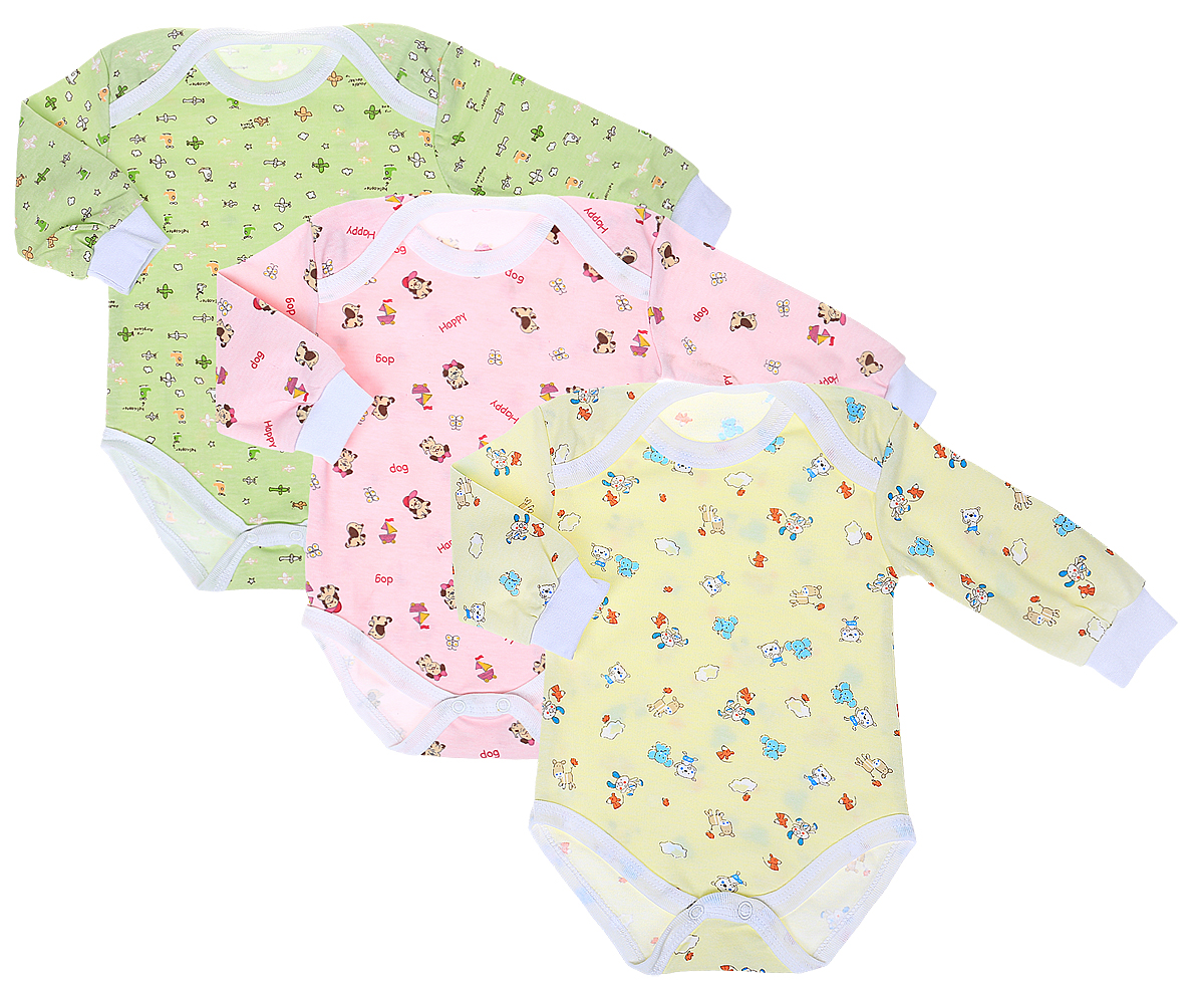 Боди для девочки Фреш Стайл, цвет: розовый, желтый, зеленый, 3 шт. 33-317д. Размер 86 боди и песочники ябольшой боди для девочки малышок 98 537 07