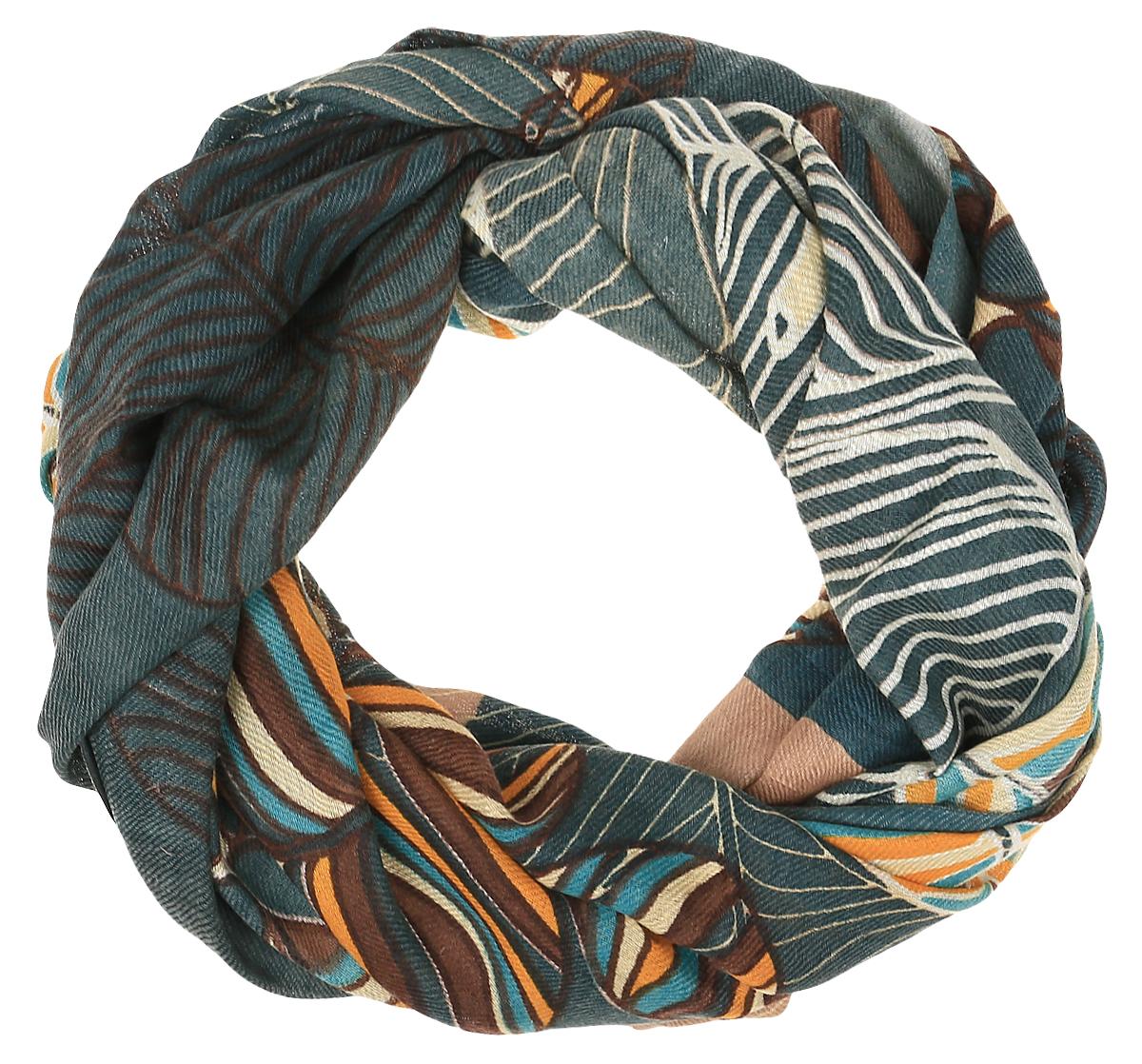 Палантин женский Dispacci, цвет: темно-бирюзовый. 9506. Размер 70 см х 180 см