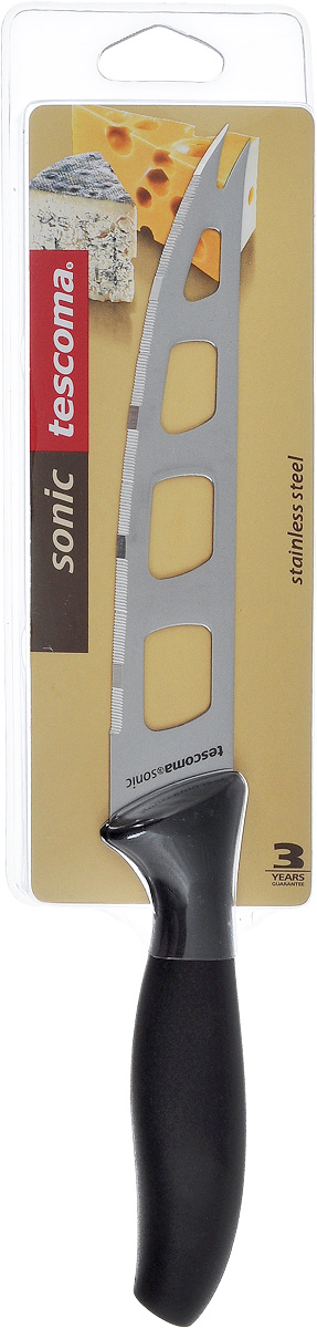 """Нож для сыра Tescoma """"Sonic"""" превосходно подходит для нарезки твердых и мягких сыров, также на конце лезвия имеется вилка - для сервировки сыра. Нож изготовлен из высококачественной нержавеющей стали. Специальный дизайн и угол лезвия ножа позволяют резать сыр таким образом, что он не будет ломаться.Длина лезвия: 14 см.Длина ножа: 27 см."""