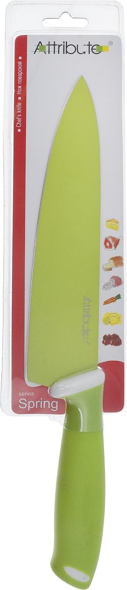 Нож поварской Attribute Knife Spring Green, длина лезвия 20 смAKZ520Поварской нож Attribute Knife Spring Green применяется для нарезки, шинковки, измельчения любых продуктов. Оснащен ручкой из резиновой смеси. Вес ножа идеально распределен для удобства работы. Остроконечное лезвие выполнено из высококачественной нержавеющей стали. Упор для пальцев предотвращает порез руки.Длина лезвия: 20 см.Общая длина ножа: 33 см.