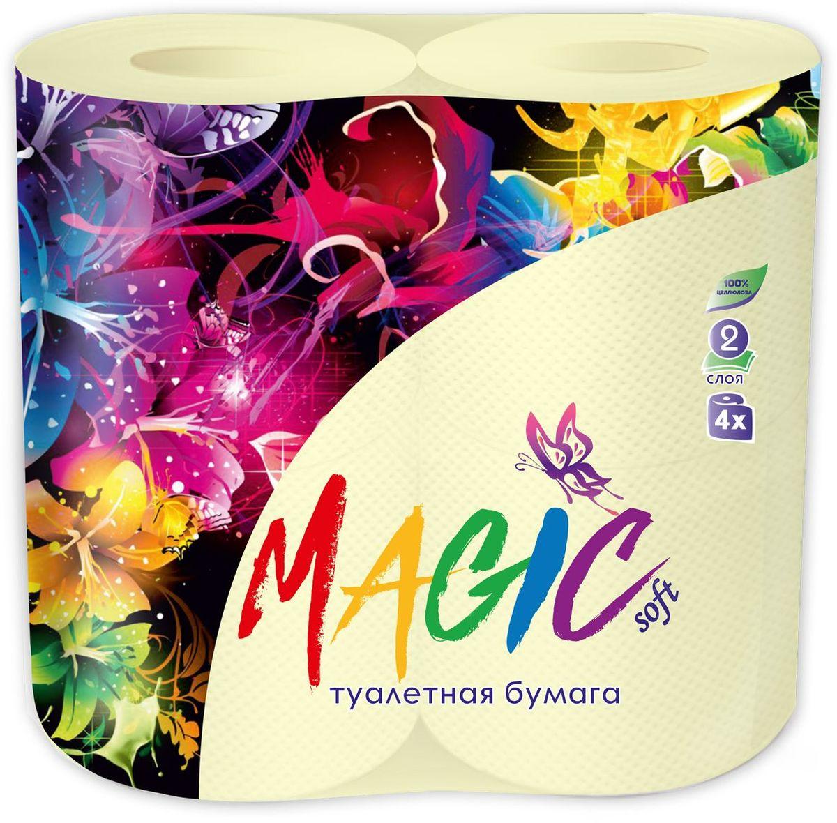Туалетная бумага Magic Soft, цвет: желтый, 4 рулона391602Для бытового и санитарно-гигиенического назначения. Одноразового использования.