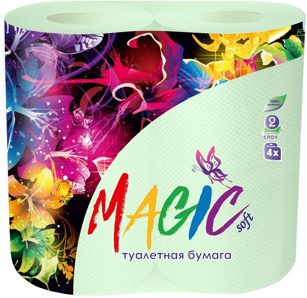 Туалетная бумага Magic Soft, цвет: зеленый, 4 рулона20041Туалетная бумага Magic имеет 2 слоя. Она предназначена для бытового и санитарно-гигиенического назначения.Одноразового использования. В комплекте: 4 рулона.