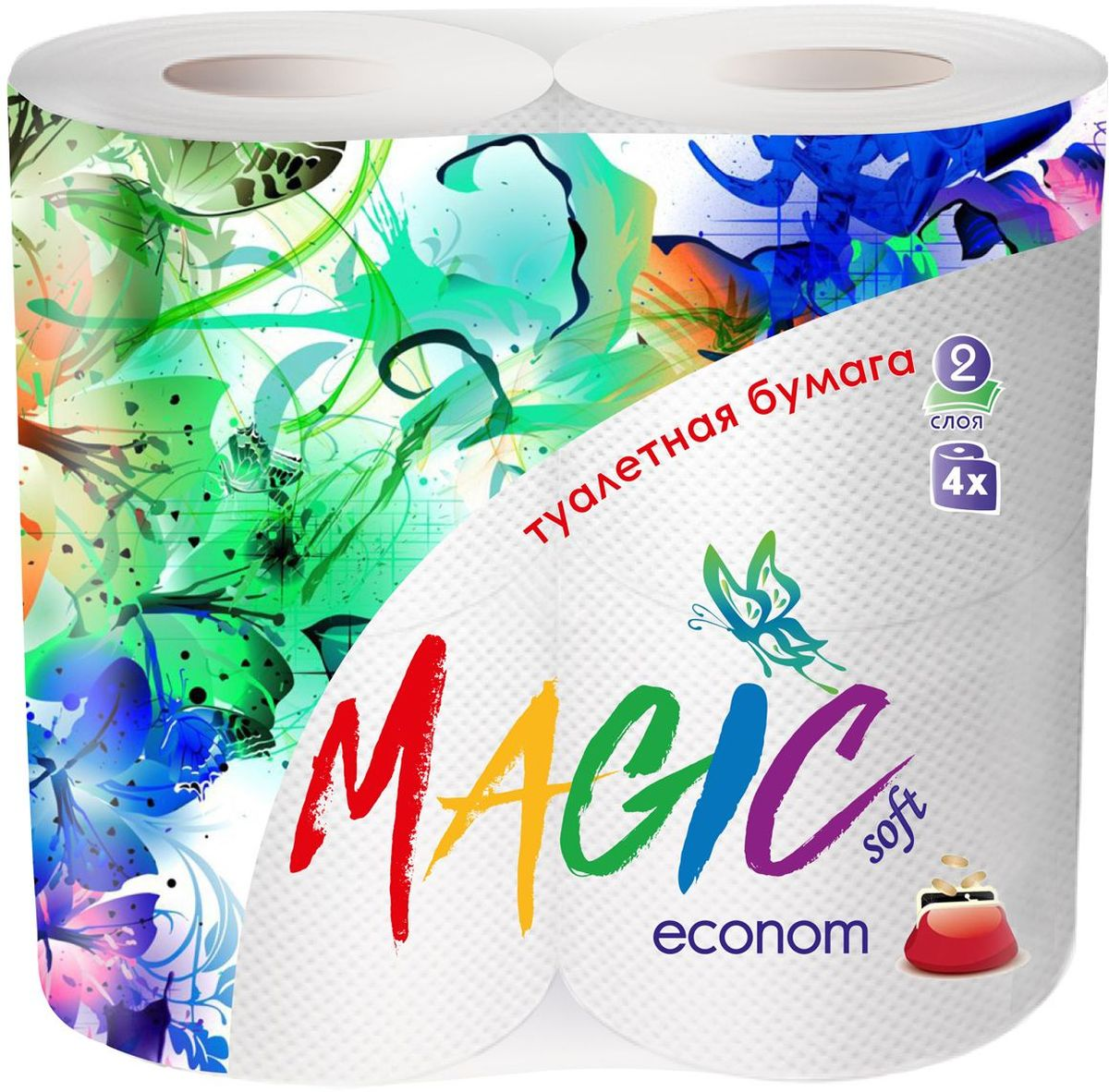 Туалетная бумага Magic Soft Econom, цвет: белый, 4 рулона20195Туалетная бумага Magic имеет 2 слоя. Она предназначена для бытового и санитарно-гигиенического назначения. Одноразового использования.В комплекте: 4 рулона.