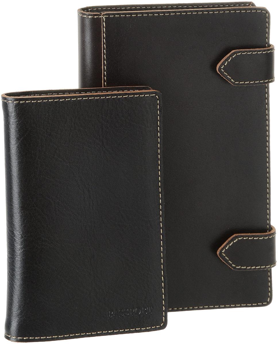 Подарочный набор Texas: обложка для паспорта, визитница, цвет: черный. V.21.TX/O.8.TX askent askent ремень 168113