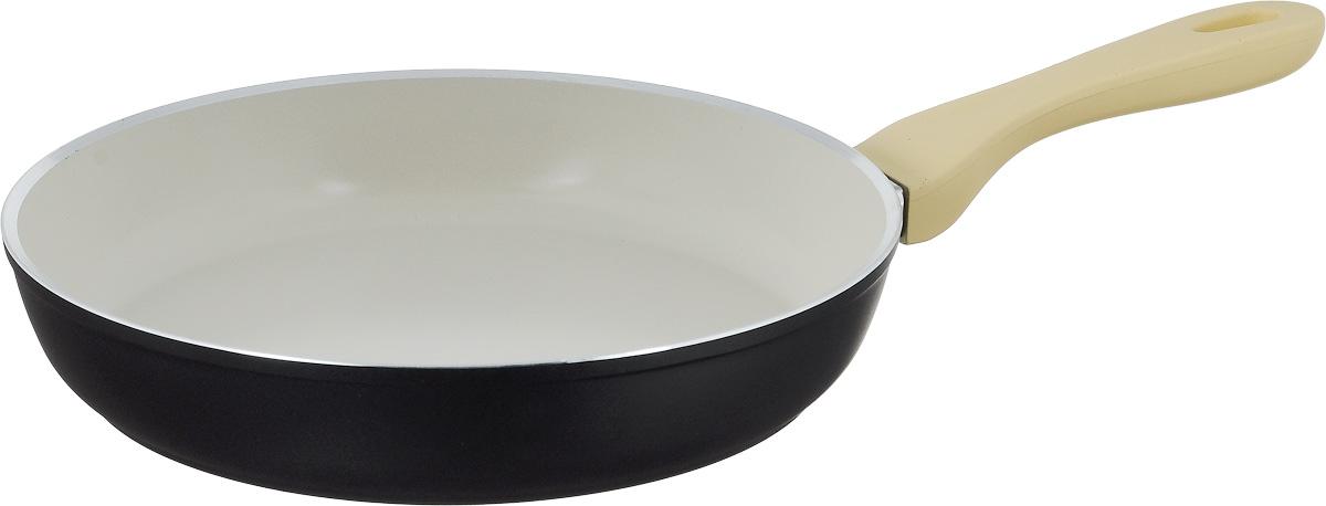 Сковорода Attribute Avorio, с керамическим покрытием. Диаметр 28 смAFA028Сковорода Attribute Avorio изготовлена из алюминия с высококачественным керамическим покрытием. Керамика не содержит вредных примесей ПФОК, что способствует здоровому и экологичному приготовлению пищи. Кроме того, с таким покрытием пища не пригорает и не прилипает к стенкам, поэтому можно готовить с минимальным добавлением масла и жиров. Гладкая, идеально ровная поверхность сковороды легко чистится.Эргономичная ручка специального дизайна выполнена из пластика с покрытием soft-touch, удобна в эксплуатации.Сковорода подходит для использования на всех типах плит, но кроме индукционных. Также изделие можно мыть в посудомоечной машине.Высота стенки: 5,2 см. Длина ручки: 20 см.