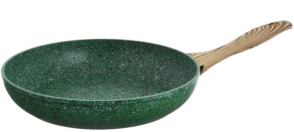 Сковорода Fissman Malachite, с антипригарным покрытием. Диаметр 28 смAL-4313.28Сковорода Fissman Malachite изготовлена из алюминия с пятислойным антипригарным покрытием EcoStone. Такое покрытие стойкое к появлению царапин и истиранию. Толстое, идеально гладкое дно обеспечивает равномерное распределение тепла. Сковорода оснащена удобной пластиковой ручкой, которая не нагревается в процессе приготовления пищи. Сковорода Fissman Malachite создана, чтобы удовлетворить потребности самых взыскательных кулинаров и профессиональных шеф-поваров. Это результат сочетания уникального производственного процесса, современного дизайна, непревзойденного качества и использования передовых сертифицированных материалов. Подходит для использования на всех типах плит, даже на индукционных. Можно мыть в посудомоечной машине. Высота стенки: 5,5 см. Длина ручки: 20 см.