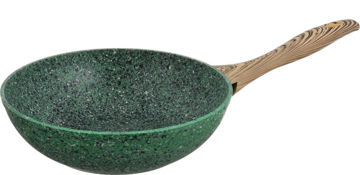 """Сковорода-вок Fissman """"Malachite"""" изготовлена из алюминия с пятислойным антипригарным покрытием EcoStone. Такое покрытие стойкое к появлению царапин и истиранию. Толстое, идеально гладкое дно обеспечивает равномерное распределение тепла. Сковорода оснащена удобной пластиковой ручкой, которая не нагревается в процессе приготовления пищи. Сковорода-вок имеет необычную коническую форму. Она универсальна: в ней удобно жарить, тушить, коптить, готовить на пару. Основной принцип приготовления еды - быстрая жарка с непрерывным помешиванием. За счет кратковременной термообработки сохраняется максимальное количество полезных веществ. Готовые блюда содержат минимум жира - впитыванию масла мешает постоянное перемещение кусочков. За счет высоких стенок вока кусочки во время интенсивного перемешивания не высыпаются. Идеальные рецепты для вока - рагу, жаркое, плов, мясо с гарнирами из лапши и овощей, блюда-фри. Посуда подходит для газовых, электрических, стеклокерамических, галогенных, индукционных плит. Можно мыть в посудомоечной машине. Высота стенки: 8 см. Длина ручки: 20 см."""
