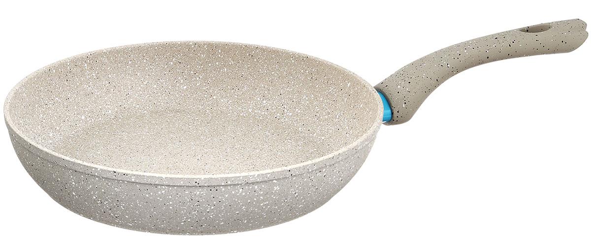 Сковорода Fissman White Stone, с антипригарным покрытием. Диаметр 28 смAL-4984.28Сковорода Fissman White Stone изготовлена из алюминия с трехслойным антипригарным покрытием Platinum. Такое покрытие стойкое к появлению царапин и истиранию. Толстое, идеально гладкое дно обеспечивает равномерное распределение тепла. Сковорода оснащена удобной бакелитовой ручкой, которая не нагревается в процессе приготовления пищи. Сковорода Fissman White Stone создана, чтобы удовлетворить потребности самых взыскательных кулинаров и профессиональных шеф-поваров. Это результат сочетания уникального производственного процесса, современного дизайна, непревзойденного качества и использования передовых сертифицированных материалов. Подходит для использования на всех типах плит, даже на индукционных. Можно мыть в посудомоечной машине. Подарок к контейнеру идет мягкая подставка под горячее.Высота стенки: 6 см. Длина ручки: 18 см.