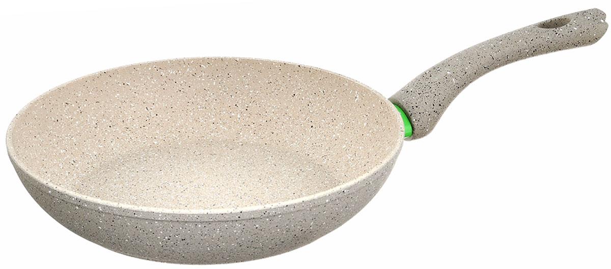 Сковорода Fissman White Stone, с антипригарным покрытием. Диаметр 26 смAL-4983.26Сковорода Fissman White Stone изготовлена из алюминия с трехслойным антипригарным покрытием Platinum. Такое покрытие стойкое к появлению царапин и истиранию. Толстое, идеально гладкое дно обеспечивает равномерное распределение тепла. Сковорода оснащена удобной бакелитовой ручкой, которая не нагревается в процессе приготовления пищи. Сковорода Fissman White Stone создана, чтобы удовлетворить потребности самых взыскательных кулинаров и профессиональных шеф-поваров. Это результат сочетания уникального производственного процесса, современного дизайна, непревзойденного качества и использования передовых сертифицированных материалов. Подходит для использования на всех типах плит, даже на индукционных. Можно мыть в посудомоечной машине. Подарок к контейнеру идет мягкая подставка под горячее.Высота стенки: 5,5 см. Длина ручки: 17,5 см.