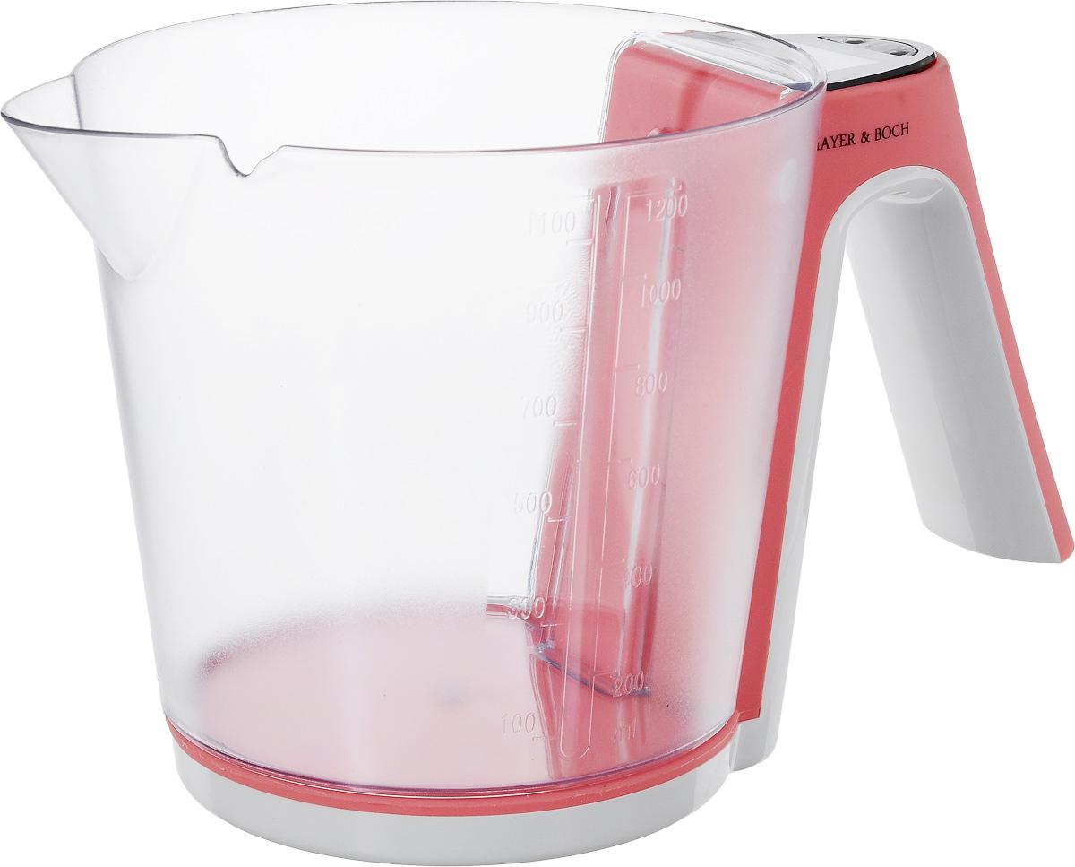 Весы кухонные  Mayer & Bosh , с чашей, цвет: белый, коралловый, до 2 кг. 10956 - Кухонные весы