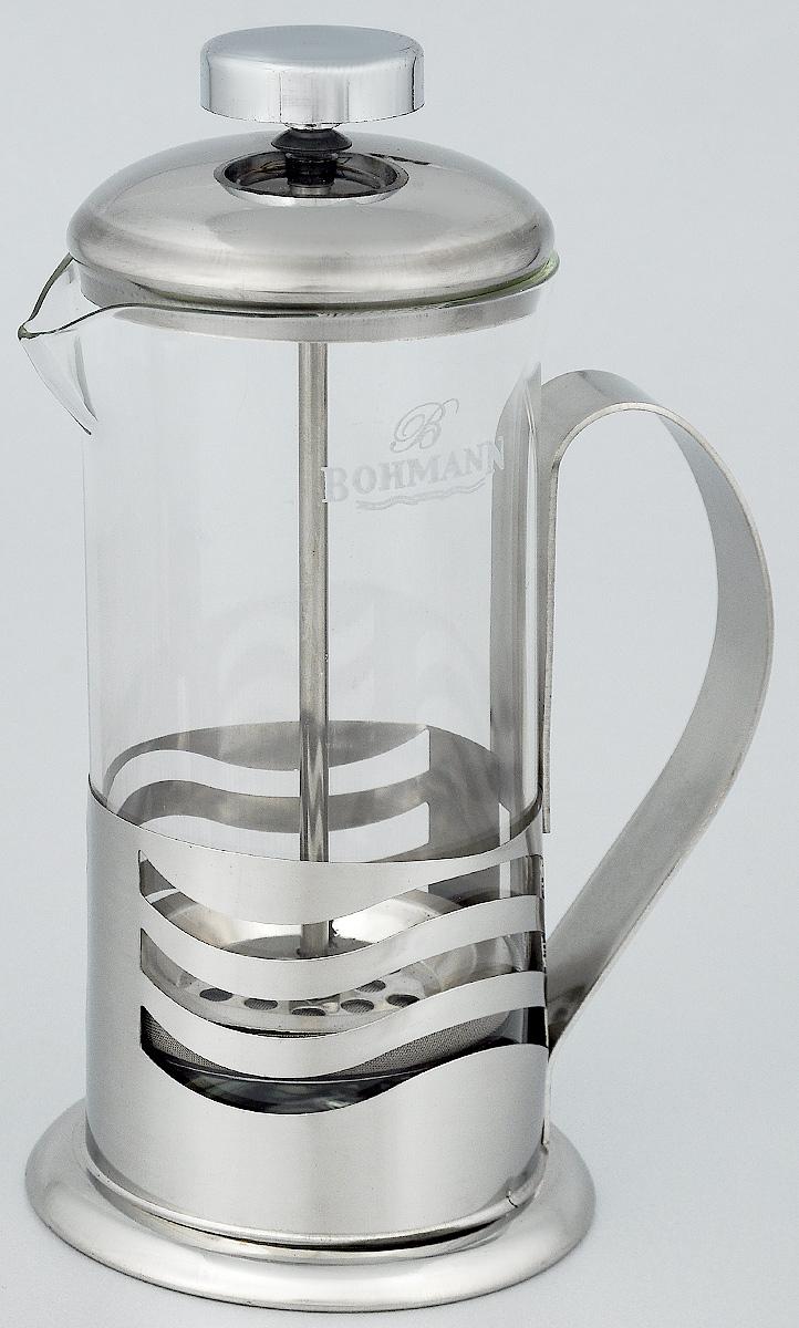 Френч-пресс Bohmann Полосы, 350 мл9535BH_полосыФренч-пресс Bohmann Полосы используется для заваривания крупнолистового чая, кофе среднего помола, травяных сборов. Изготовлен из высококачественной нержавеющей стали и термостойкого стекла, выдерживающего высокую температуру, что придает ему надежность и долговечность. Френч-пресс Bohmann Полосы незаменим для любителей чая и кофе.Можно мыть в посудомоечной машине.Объем: 350 мл.Высота (с учетом крышки): 18 см.Диаметр (по верхнему краю): 7,5 см.