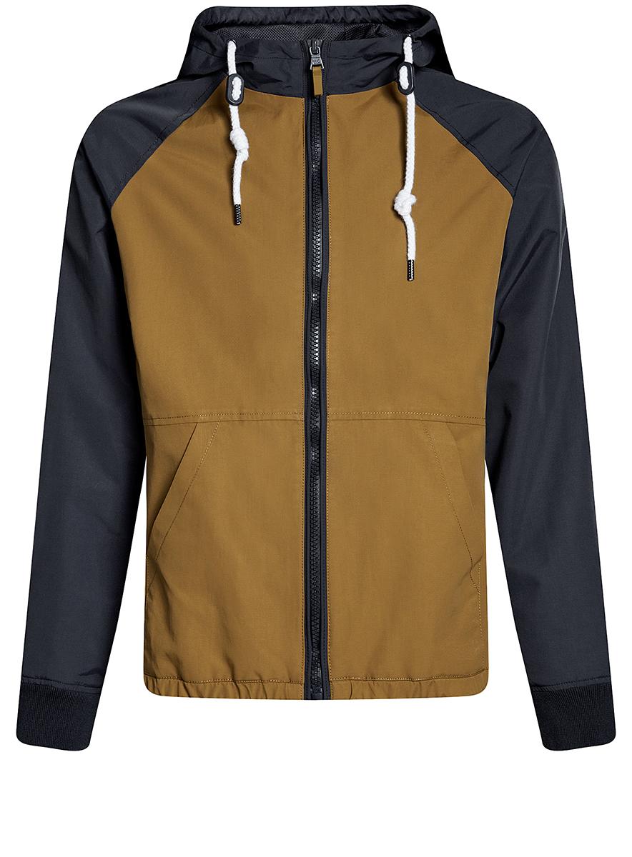 Куртка мужская oodji Lab, цвет: темно-бежевый, темно-синий. 1L512015M/46215N/3579B. Размер M-182 (50-182) куртка мужская fresh brand цвет темно синий h3 df071 night blue размер l 50