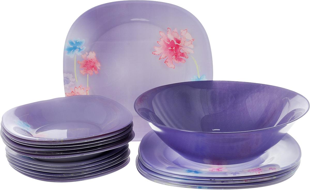 Столовый набор Luminarc Angel Purple, 19 прeдметовJ2110Столовый набор Luminarc Angel Purple состоит из 6 суповых тарелок, 6 обеденных тарелок, 6 десертных тарелок и салатника. Изделия выполнены из ударопрочного стекла, с ярким цветочным дизайном. Посуда отличается прочностью, гигиеничностью и долгим сроком службы, она устойчива к появлению царапин и резким перепадам температур. Такой набор прекрасно подойдет как для повседневного использования, так и для праздников или особенных случаев. Столовый набор Luminarc Angel Purple - это не только яркий и полезный подарок для родных и близких, это также великолепное дизайнерское решение для вашей кухни или столовой. Изделия можно мыть в посудомоечной машине и использовать в СВЧ-печи. Диаметр суповой тарелки: 20 см. Диаметр обеденной тарелки: 25 см. Диаметр десертной тарелки: 18 см.Диаметр салатника: 27 см. Высота стенки салатника: 8 см.