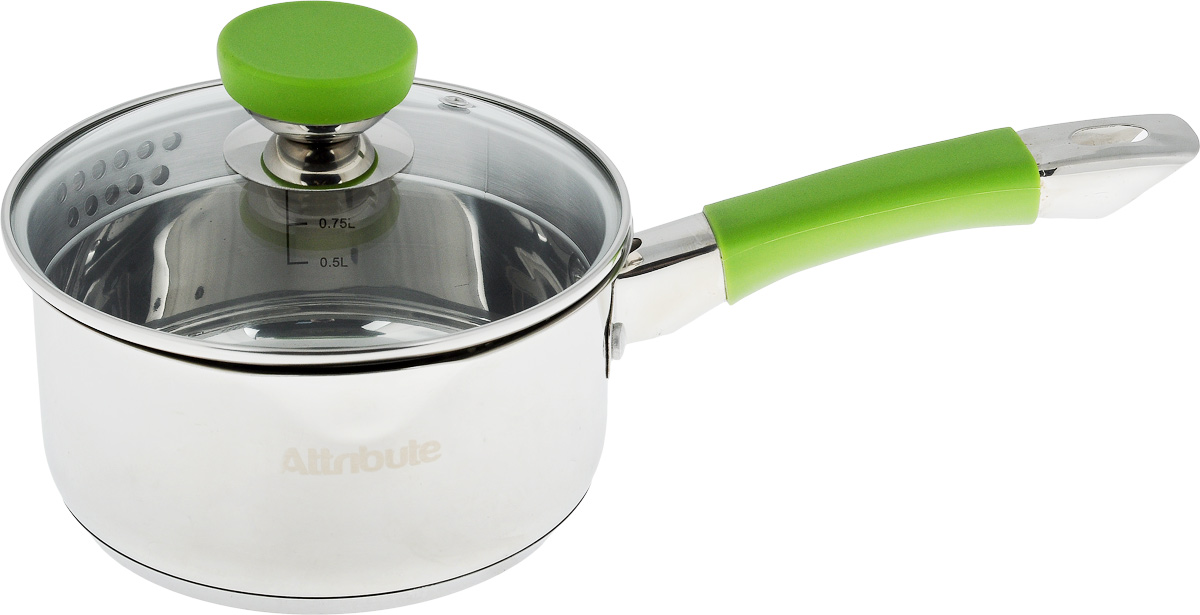 Ковш Attribute Lime с крышкой, 1,5 лASS317Ковш Attribute Lime изготовлен из нержавеющей стали. Он прекрасно подходит для приготовления здоровой и диетической пищи, без лишнего жира. Пища не пригорает и не липнет к стенкам, равномерно приготавливается, сохраняя все полезные микроэлементы. Ручка выполнена из силикона и имеет отверстие для подвешивания.Крышка, выполненная из термостойкого стекла, позволит вам следить за процессом приготовления пищи. Крышка оснащена металлическим ободом и отверстием для выпуска пара, а также предусмотрен удобный слив. Внутренняя стенка ковша оснащена мерной шкалой, для определения количества жидкости.Изделие подходит для всех типов плит, и даже для индукционных. Можно мыть в посудомоечной машине.Высота стенки ковша: 8,2 см. Длина ручки: 17 см.